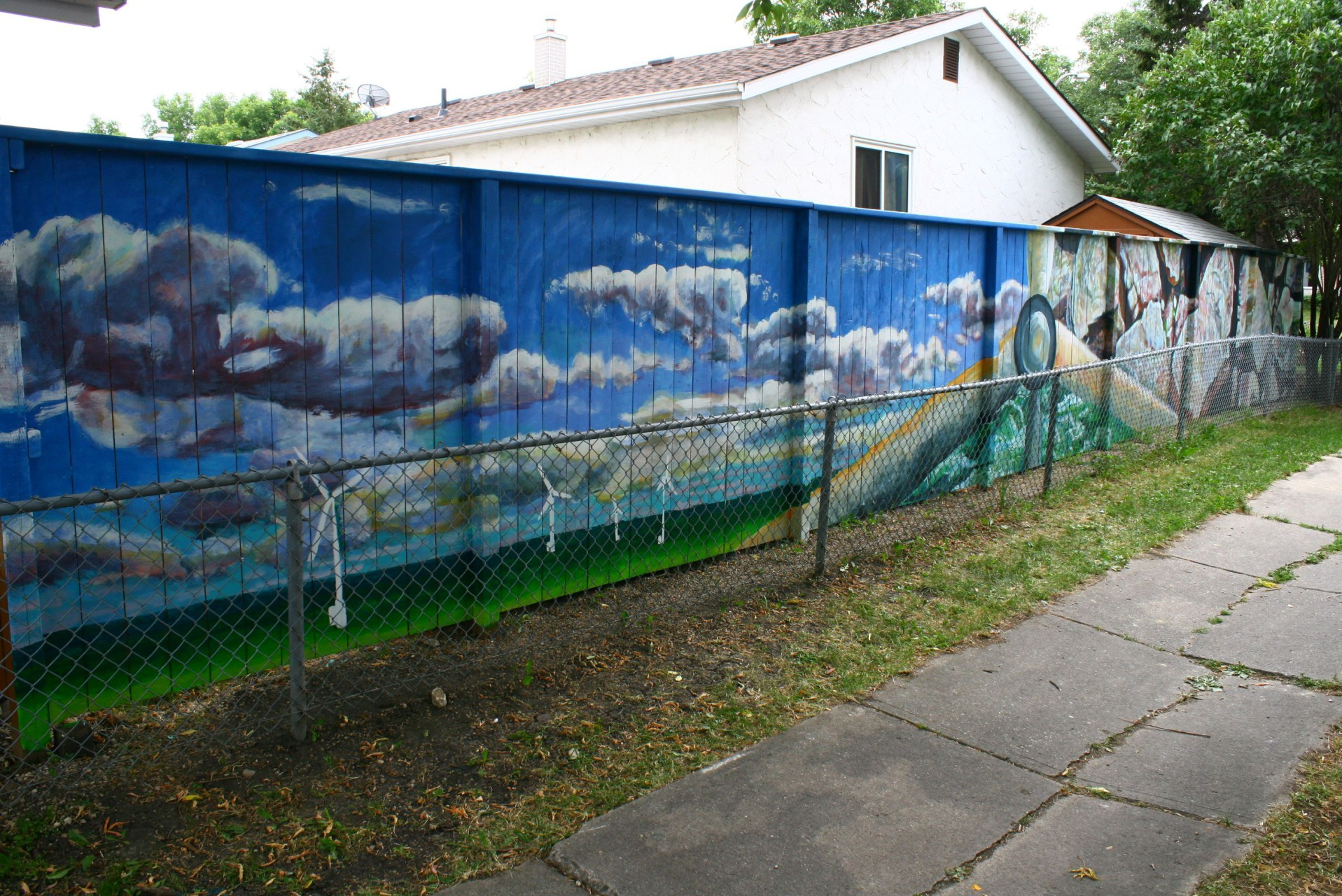 Sustainability mural take pride winnipeg mural fence 2 for Backyard mural ideas